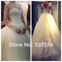 2014 Long Sleeves Ivory or White  Formal Elegant Wedding Dresses