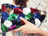 2014 New Fashion Multicolour Paillette Clutch, Sequin Patchwork Clutch,Women's Envelope Handbag