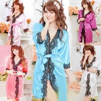 Женщины Sexy Кружево V - образный вырез Bathrobe Sleepwear Pajamas Nightdress Robes ...