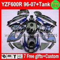 7gifts+Tank For YAMAHA  YZF600R 96-07 Blue flames YZF 600R 2MC32 YZF-600R Blue black 96 97 98 99 00 01 02 03 04 05 06 07 Fairing