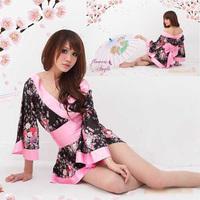 Women Cute Flower kimono Sexy Japan Satin Lingerie Robe Cosplay Costume   044