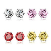 Free shipping 11225 Elegant fashion five colors imitation diamond circular mini stud earrings lover wholesale top quality