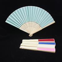 Single blank raw silk ladies folding fan decorative fan gifts anime fan with multicolor