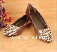 Free shipping woman's flat rhinestones ballet shoes metalic PU casual shoes