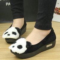 13 wool cartoon panda head cotton plus velvet suit shoes platform round toe single shoes boat shoes rabbit head women's shoes