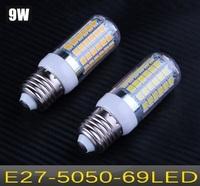 10pcs Free shipping SMD 5050 E27 LED 220V 9W LED bulb lamp 69leds Warm white/white LED Corn Bulb Light