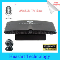 2014 MK818 for Television Set Android 4.1 TV Box RK3066 Dual Core 1G/8G AV Audio Output HDMI WiFi Webcam Mic Bluetooth RJ45 OTG