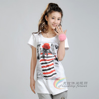 2014 women's summer medium-long loose 100% female cotton short-sleeve t-shirt