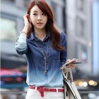 2014 Fashion New Long Sleeve Women Female Gradient Blue Denim Top Medium-long Water Wash Denim Casual Shirt Blouse S, M, L