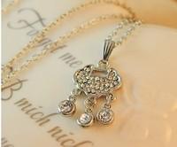 2014 New style Free Shipping Fashion Necklace Korean style Longevity lock long necklace Wholesale  mix order