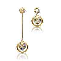 Asymmetrical heart crystal decoration earring fashion earrings women's long design pendant accessories