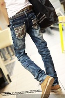 Spring and summer male jeans street trend of the slim Dark Blue skinny pants male