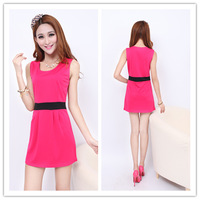 2013 summer ol sleeveless patchwork bright color one-piece dress