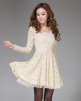 Women's slim long-sleeve basic lace one-piece dress female skirt paillette
