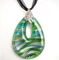 CollectionBP Murano Glass Blue Green Sliver Ribbon Drop Pendant Necklace