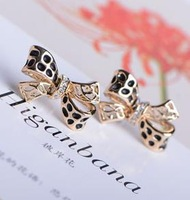 viintage bowknot keep color jewelry fashion girl alloy plated 14k women stud Earrings free shipping A10228
