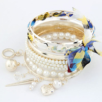 2014 Fashion Multilayer Pearl Bow Bracelet Bead Colorful Banlge For Women  Fashion Jewelry wholesale