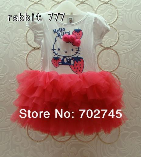 New B2W2 Girl Dress LKT-112 Cartoon Strawberry Tutu Princess Tiered Dress 5pcs/lot(China (Mainland))