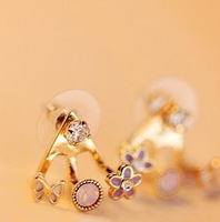 bowknot flower keep color jewelry fashion girl alloy plated women stud Earrings free shipping 20410