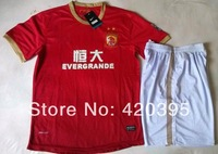 13/14 Guangzhou Evergrande Home Red Adult Size Short Sleeve Soccer Jersey Kit Football Uniform Shirt & Shorts W/ Logo Free Ship