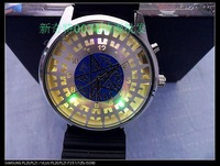 Free Shipping fashion Lady&Men Quartz Anime Themed Black Butler Watch,Chromatic LED Light