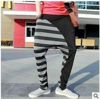 Stripe Men Hip-Hop  Pants Stitching Sports Harem Pants Plus Size Drop Crotch Pants Men Free Shipping ly3-4