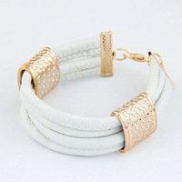 2014 Fashion Trendy Metal Leather Multi- Bracelet For Woman Jewelry Wholesale