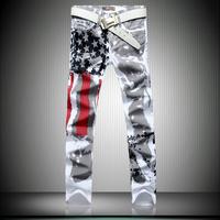 free Real Skinny Pencil Pants Print Mid Batik Shipping 2014 New Men's Jeans Personalized Printing Ink Tide Male Long Pants Feet