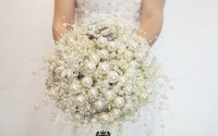 High quality  wedding bride holding flowers,waterfall pearl holding flowers,diameter 20cm,brooch holding flowers free shipping