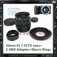 C Mount + 35mm F1.7 CCTV Lens for Sony Nex3N Nex5N Nex6 Nex7 NEXF3 NEXC3 ILCE a3000 a5000 a6000 Camera PA217