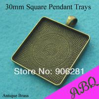 30MM Antique Bronze Square Blank Pendant Trays, Blank Pendant Blanks, Bezel Settings