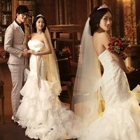 2014 Best famous designer bride wedding dress court trailing fishtail lace wedding dress Princess off shoulder slim wedding gown