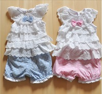 Retail,Hot,New baby girls clothing sets for summer cotton girls lace set,t shirt+pants,baby wear,free pink blue 3pcs/1lot