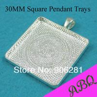 30MM Shiny Silver Square Blank Pendant Trays, Blank Pendant Blanks, Bezel Settings