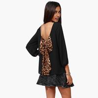 Smss spring new arrival chiffon leopard print loose racerback wrist-length sleeve chiffon shirt sexy women's top 5 COLOR XXl