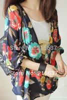 Fashion loose kimono big flower 7 puff sleeve chiffon shirt thin outerwear cape