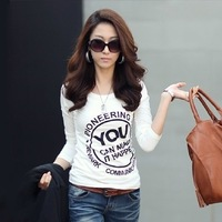 2014 spring plus size clothing 100% cotton o-neck slim print t-shirt female long-sleeve basic shirt female