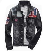 Free shipping  2014 High quality Fashion Men Korean Slim casual denim jeans jacket coat men in Europe and America