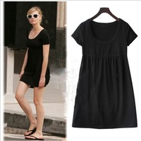 Fashion women 2014 clothes summer spring short-sleeve knee-length black dress plus size women clothing dresses XXL XXXL 4XL 5XL