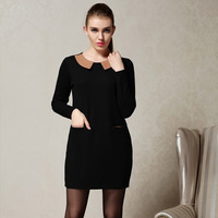 2014 Spring women one-piece dress vintage peter pan collar knee-length knitted dresses plus size clothing XXL XXXL 4XL 5XL