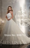 Hot Sell! Ball Gown Strapless Tulle Designer Exceptional Wedding Gown,Bridal Dress 2014 Waist is highlighted with a Beaded Band