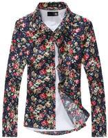2014 New Arrival  Mens Casual Shirts Flower Full Shirts Cotton Long-sleeved Vintage Floral Custom Slim Business Dress Men Shirt