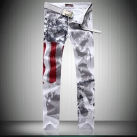 Large Size 42. 44. 46 American Flag Classic Men Jeans, High Quality Pure cotton Pants, New SS14 Fashion Jeans Free Shipping