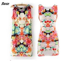 fashion clothes 2014brand name vintage floral print bodycon slim mini sleeveless casual sexy dress miami ---YY001