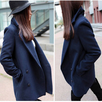 European Stylish Fashion Women Big Lapel Collar Long Sleeve Slim Fit Top Quality Winter Woolen Coat Jacket 0486