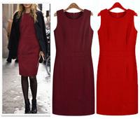 European Style wool vestidos inverno new in 2015 plus size sleeveless casual celebrity women midi autumn winter dress C241