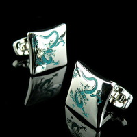 2014 Classic Silver Chinese Dragon Men's French Shirt Enamel Wedding Groom Men Cuff Links Business Silver Cufflinks For Mens