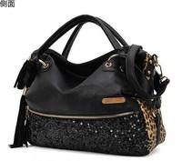 2014 New Women's Hot Sale Sequin All Matching Designed Tassels Embellished Zipper Multipurpose Belted PU Handbag Black/Leopard