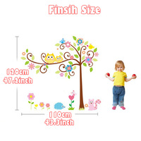1set Large Size 43*47 Inch Beautiful Cartoon Stickers Owl Tree Wall Decal For Kids & Colorful Art Wall Vinyl Tree Wall Decals