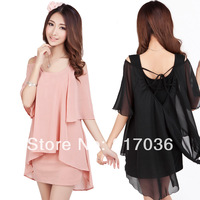 2014 spring plus size clothing slim faux two piece summer chiffon one-piece dress